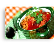 Red Pepper Filled With Rice and Meat Canvas Print