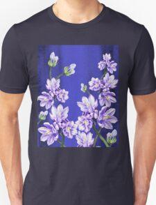 Purple Flowers Blue Blue Sky T-Shirt