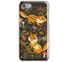 Two Cute Chipmunks in Autumn Background iPhone Case/Skin