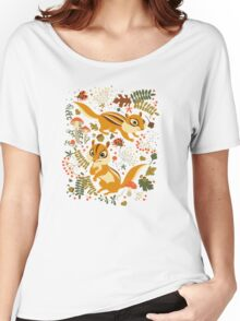 Two Cute Chipmunks in Autumn Background Women's Relaxed Fit T-Shirt