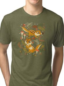Two Cute Chipmunks in Autumn Background Tri-blend T-Shirt