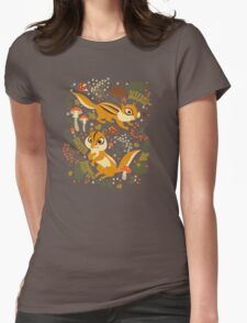 Two Cute Chipmunks in Autumn Background Womens Fitted T-Shirt