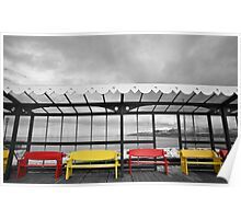 North Pier Benches Blackpool Poster