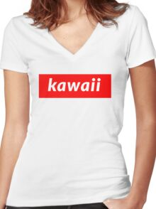 Kawaii Women's Fitted V-Neck T-Shirt