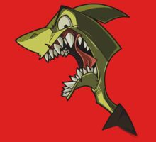Angry green shark with shading by Enikő Tóth
