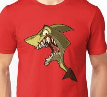 Angry green shark with shading Unisex T-Shirt