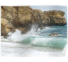 """Aqua Ocean""  West Coast of Albufeira, Portugal Poster"