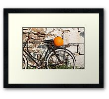 Pumpkin Patch Bike Framed Print
