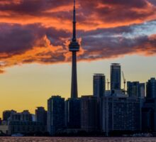 Fire sunset over Toronto Sticker
