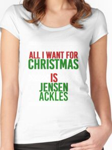 All I Want For Christmas (Jensen Ackles) Women's Fitted Scoop T-Shirt