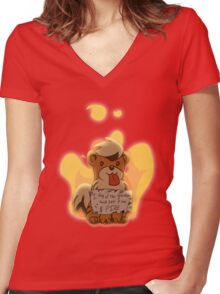Pokeshaming - Growlithe Women's Fitted V-Neck T-Shirt