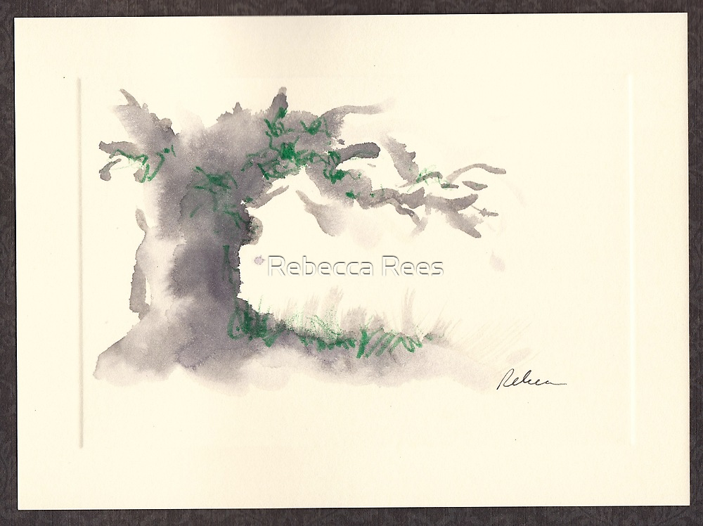 """""""Serenity""""  ink wash watercolor on paper. by Rebecca Rees"""