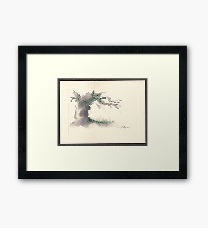 """""""Serenity""""  ink wash watercolor on paper. Framed Print"""