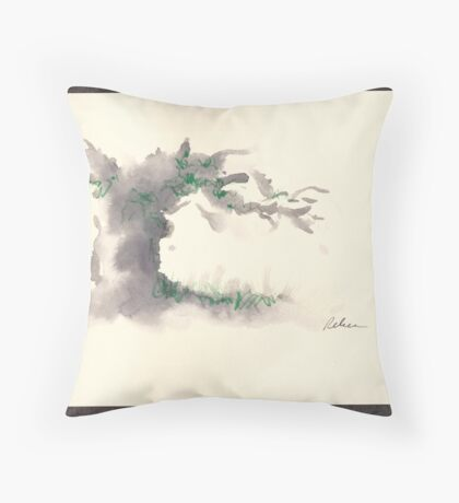 """Serenity""  ink wash watercolor on paper. Throw Pillow"