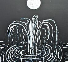 Fountain in Moonlight by Christine Chase Cooper