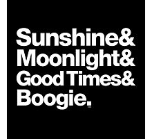 Sunshine, Moonlight & Boogie Ampersand Helvetica Getup Photographic Print