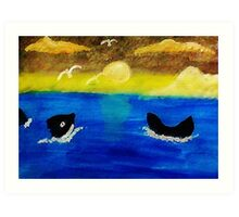 Whales  frolicing, watercolor Art Print