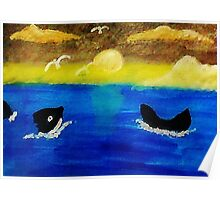 Whales  frolicing, watercolor Poster