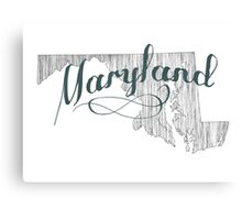Maryland State Typography Canvas Print