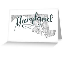 Maryland State Typography Greeting Card