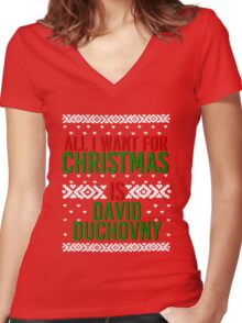 All I Want For Christmas (David Duchovny) Women's Fitted V-Neck T-Shirt