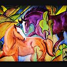 Horses playing by Bine