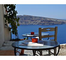 A Scenic Cafe Overlooking Caldera Photographic Print