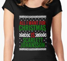 All I Want For Christmas (Scarlett Johansson) Women's Fitted Scoop T-Shirt