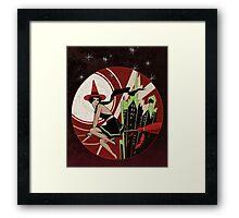 Halloween Witch Flying (vintage) Framed Print