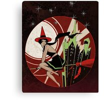 Halloween Witch Flying (vintage) Canvas Print