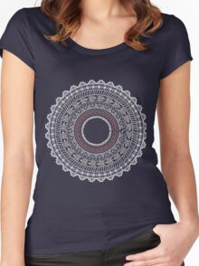 Ethnic Aztec circle ornament seamless pattern Women's Fitted Scoop T-Shirt