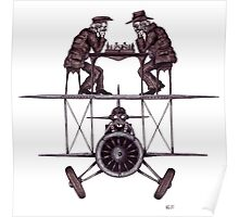 Chess game on the vintage airplane surreal black and white drawing Poster