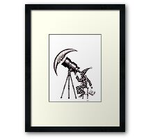 Astronomer surreal black and white pen ink drawing Framed Print