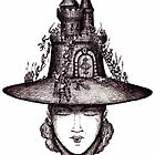 Castle on the girl's hat surreal black and white pen ink drawing by Vitaliy Gonikman
