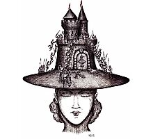 Castle on the girl's hat surreal black and white pen ink drawing Photographic Print