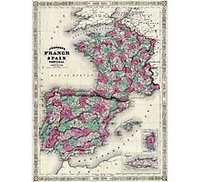 Johnson Map of France Spain and Portugal Photographic Print