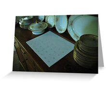 a hutch~some dishes~and a calendar... Greeting Card