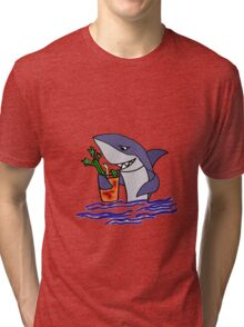 Funny Cool Shark Drinking a Bloody Mary Tri-blend T-Shirt