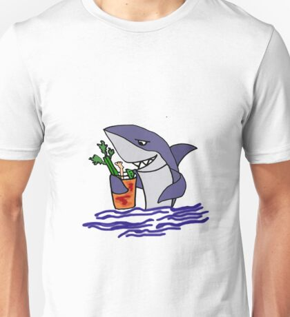 Funny Cool Shark Drinking a Bloody Mary Unisex T-Shirt