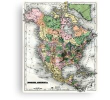 Map of the North American continent Canvas Print
