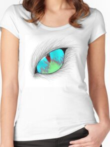 Cat Eye Fire Reflection Women's Fitted Scoop T-Shirt