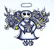 Birthday Angel (blue version) by Lisa Frances Judd~QuirkyHappyArt