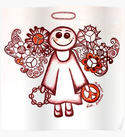 Peace Angel Red Poster