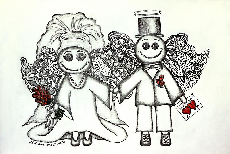 Wedding Angels Original by Lisa Frances Judd~QuirkyHappyArt