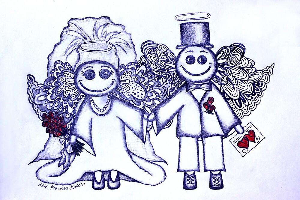 Wedding Angels Blue by Lisa Frances Judd~QuirkyHappyArt