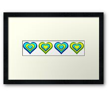 Colourful Hearts Blue and Yellow Framed Print