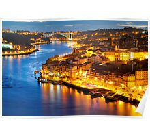 Porto: panorama of Ribeira and Douro river  Poster