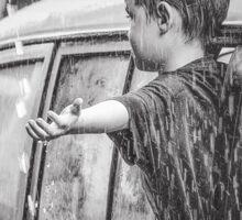 Boy in the rain Sticker