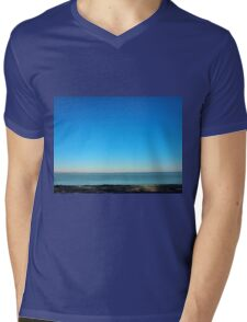 View of the sea and the horizon with the coastline Mens V-Neck T-Shirt