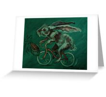 Bunny On A Bicycle Greeting Card